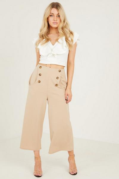 Stone Button Culotte Trousers