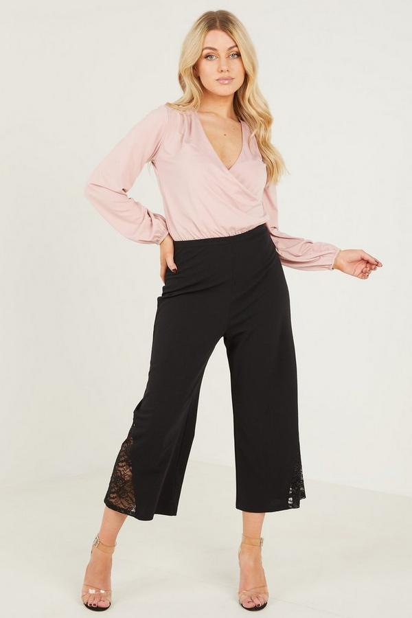 Black Crepe Lace Pannel Culotte Trousers
