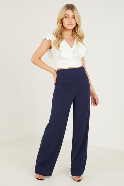 Navy Patch Pocket Palazzo Trouser