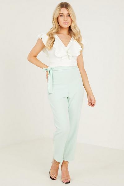Mint Scuba Crop Tie Fitted Trousers