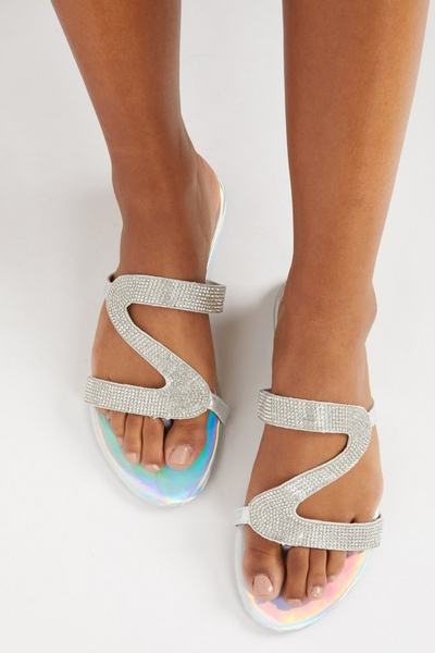 Silver Diamante Mule Sandals