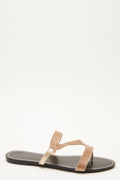 Rose Gold Diamante Mule Sandals