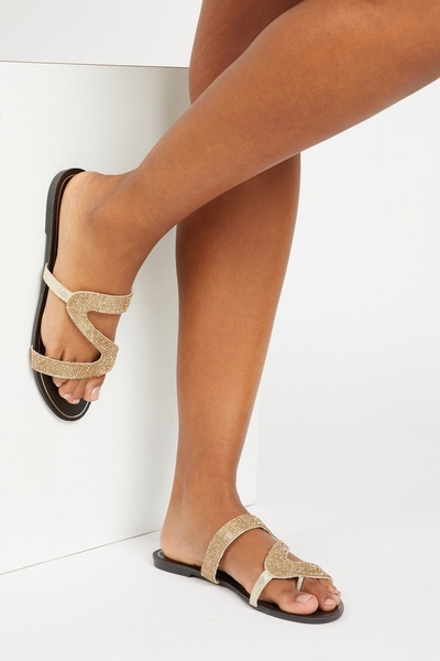 Gold Diamante Mule Sandals