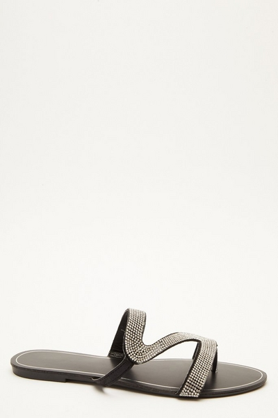 Black Diamante Mule Sandals