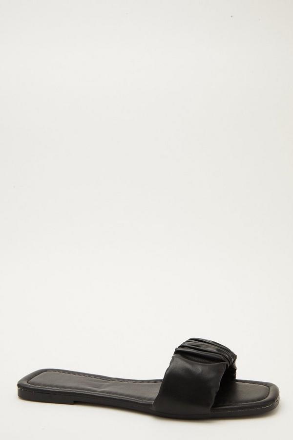 Black Ruched Mule Sandals