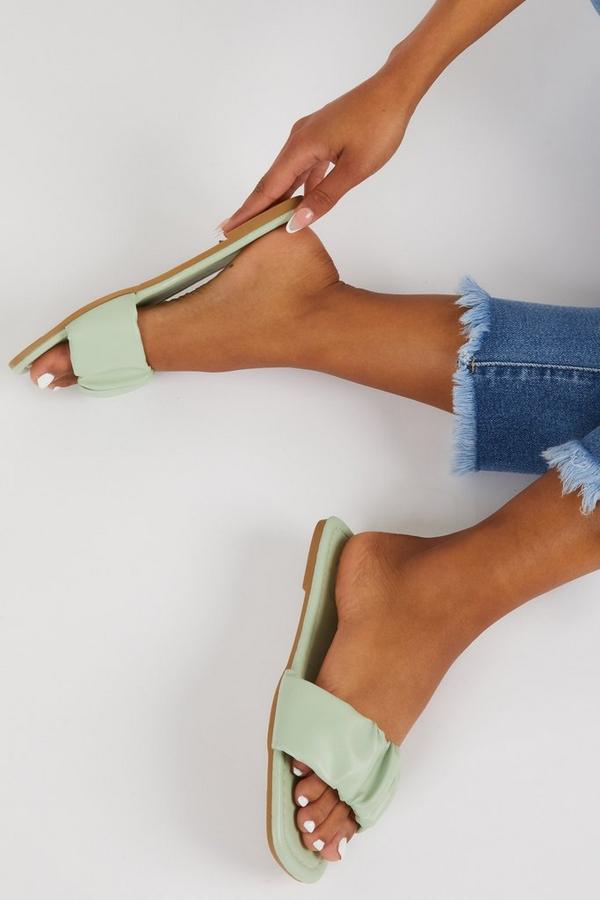 Mint Ruched Mule Sandals