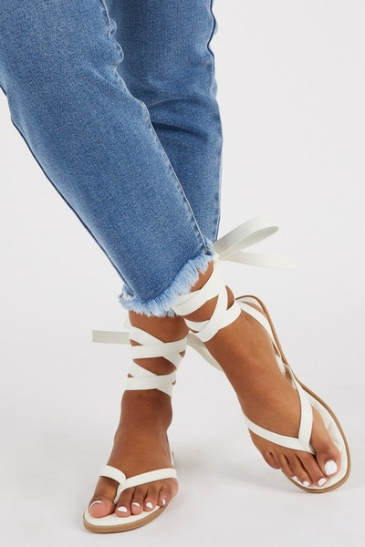White Faux Leather Quilted Sandals