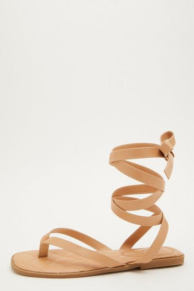 Nude Faux Leather Quilted Sandals