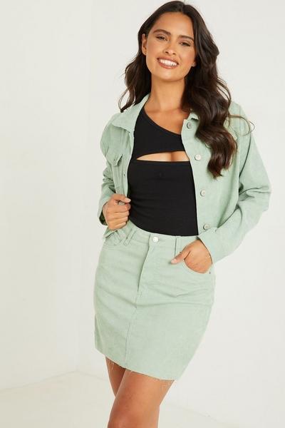 Sage Cord Mini Skirt