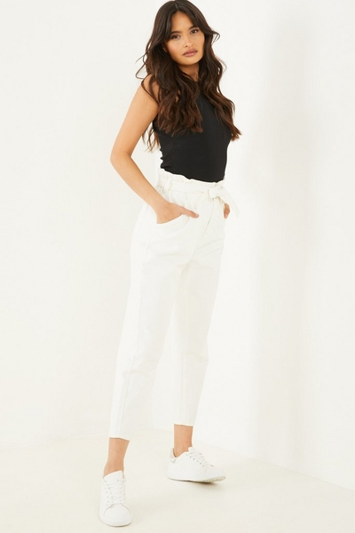 Cream Paper Bag Jeans