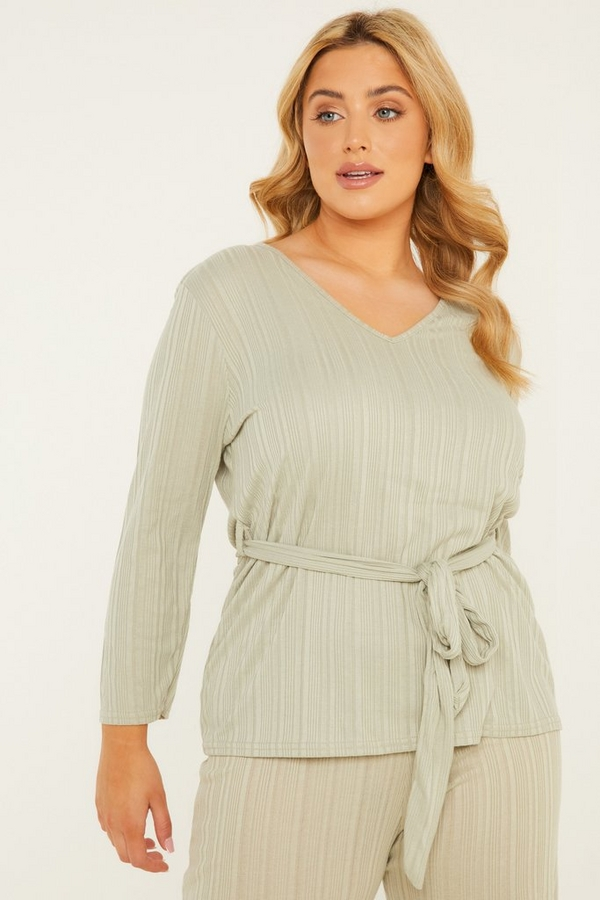 Curve Sage Ribbed Top