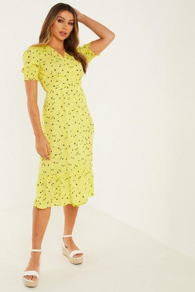 Yellow Floral Wrap Midi Dress