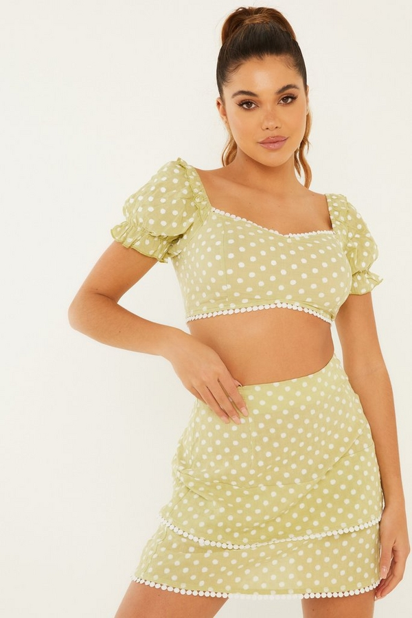 Green Polka Dot Mini Skirt