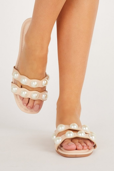 Nude Pearl Flat Sandal