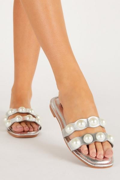 Silver Pearl Flat Sandal