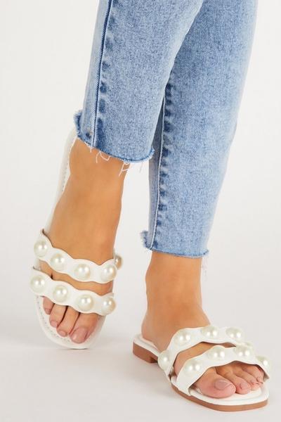 White Pearl Flat Sandal