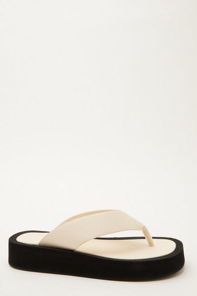 Nude Faux Leather Flatform Sandals