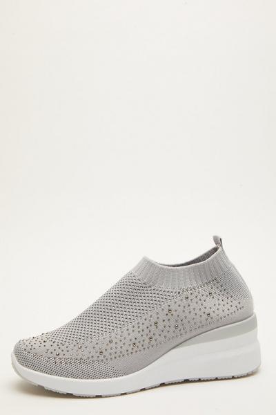 Grey Diamante Knit Wedge Trainer