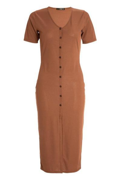 Brown Ribbed Midi Dress