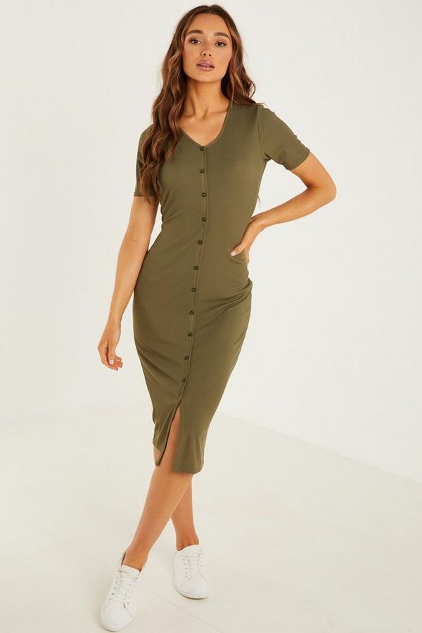 Khaki Ribbed Midi Dress
