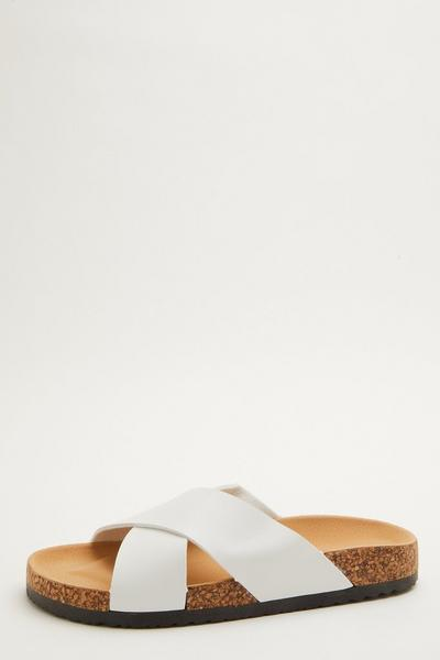 White Faux Leather Flat Sandals