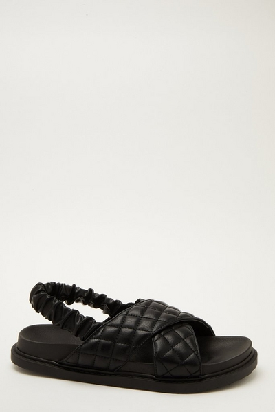Black Quilted Cross Strap Sandals