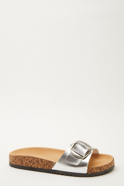 Silver Buckle Flat Sandal