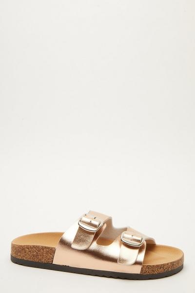 Rose Gold Buckle Flat Sandal