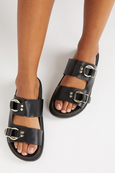 Black Faux Leather Buckle Sliders