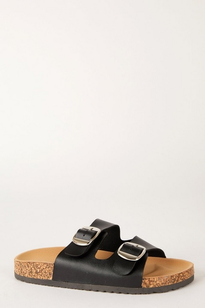 Black Buckle Flat Sandal
