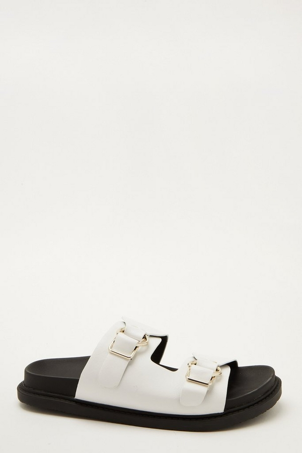 White Faux Leather Buckle Sliders