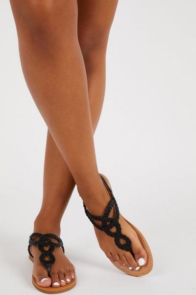 Black Faux Leather Flat Sandals