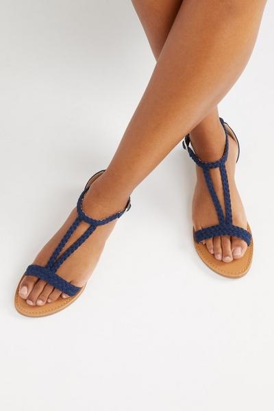 Navy T Bar Flat Sandals