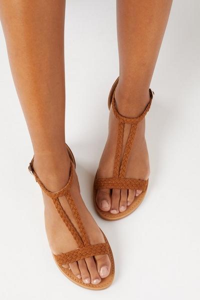 Tan T Bar Flat Sandals