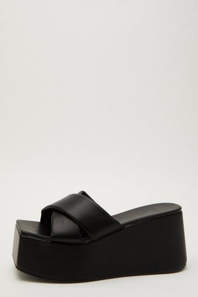 Black Faux Leather Mule Wedges