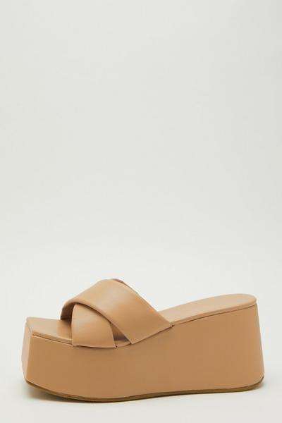 Nude Faux Leather Mule Wedges