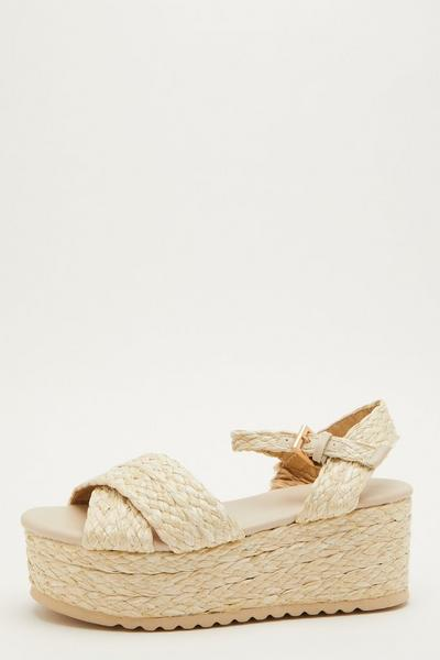 Nude Woven Wedge Sandals