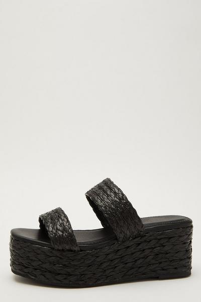 Black Woven Mule Wedge Sandals