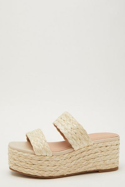 Nude Woven Mule Wedge Sandals