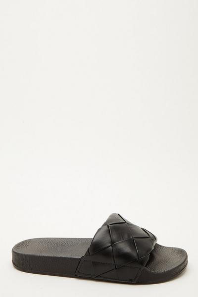 Black Woven Sliders