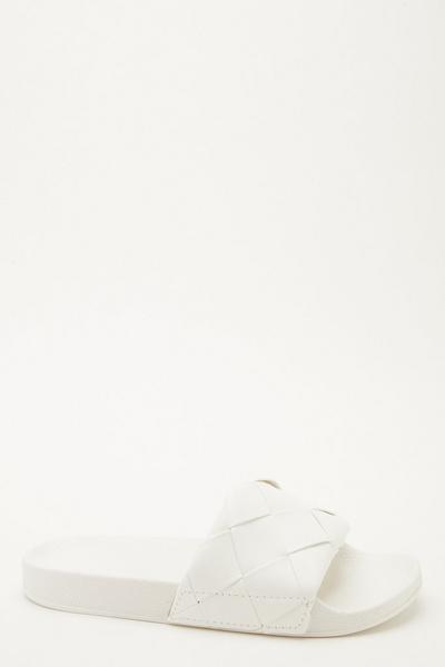 White Woven Sliders