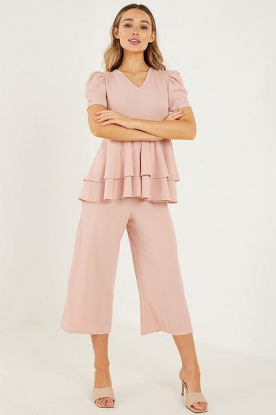 Pink Ribbed Frill Puff Sleeve Top