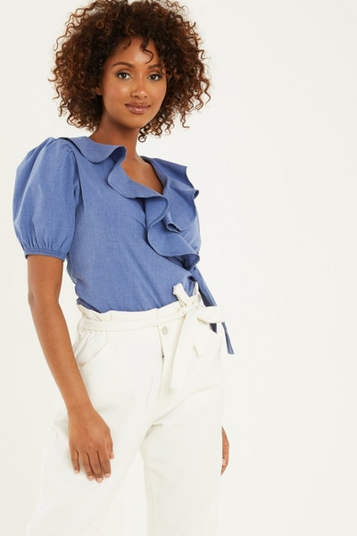 Blue Chambray Wrap Puff Sleeve Top