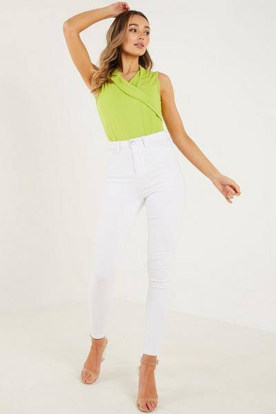 Lime Scuba Wrap Front Bodysuit