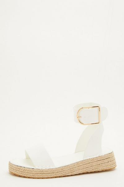 White Faux Leather Wedge Sandals