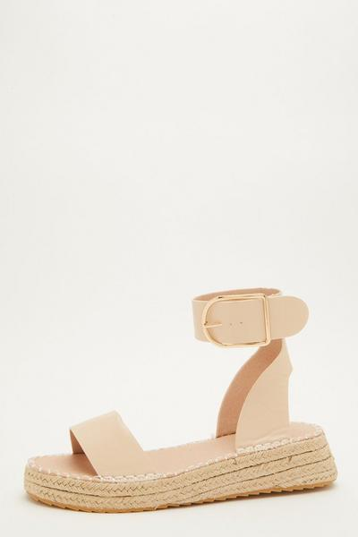 Nude Faux Leather Wedge Sandals