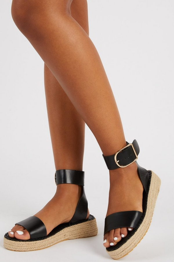 Black Faux Leather Wedge Sandals