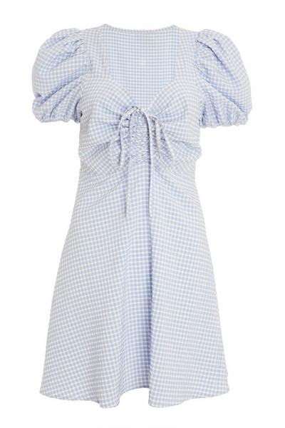 Blue Checked Puff Sleeve Skater Dress