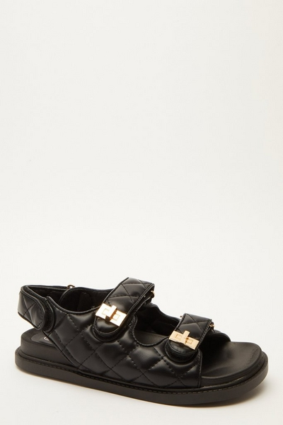 Black Quilted Chunky Sandals