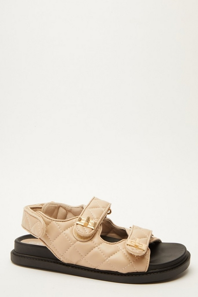 Nude Quilted Chunky Sandals